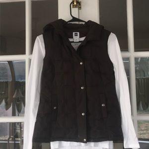 GAP brown hooded vest XS